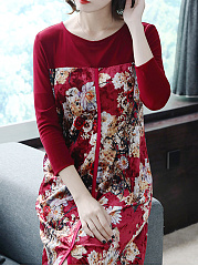 Patchwork Round Neck   Printed Shift Dress