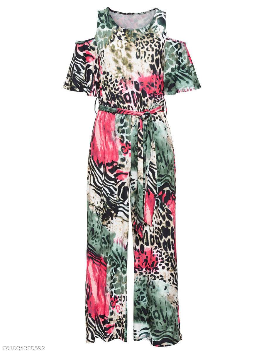 Open Shoulder Animal Printed Wide-Leg Jumpsuit