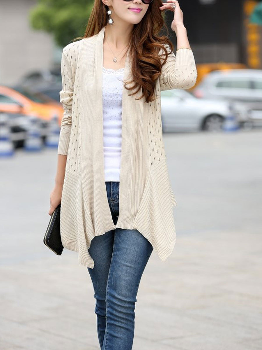 Collarless  Asymmetric Hem  Hollow Out Cardigans