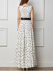 Round Neck  Contrast Trim  Belt  Polka Dot Maxi Dress