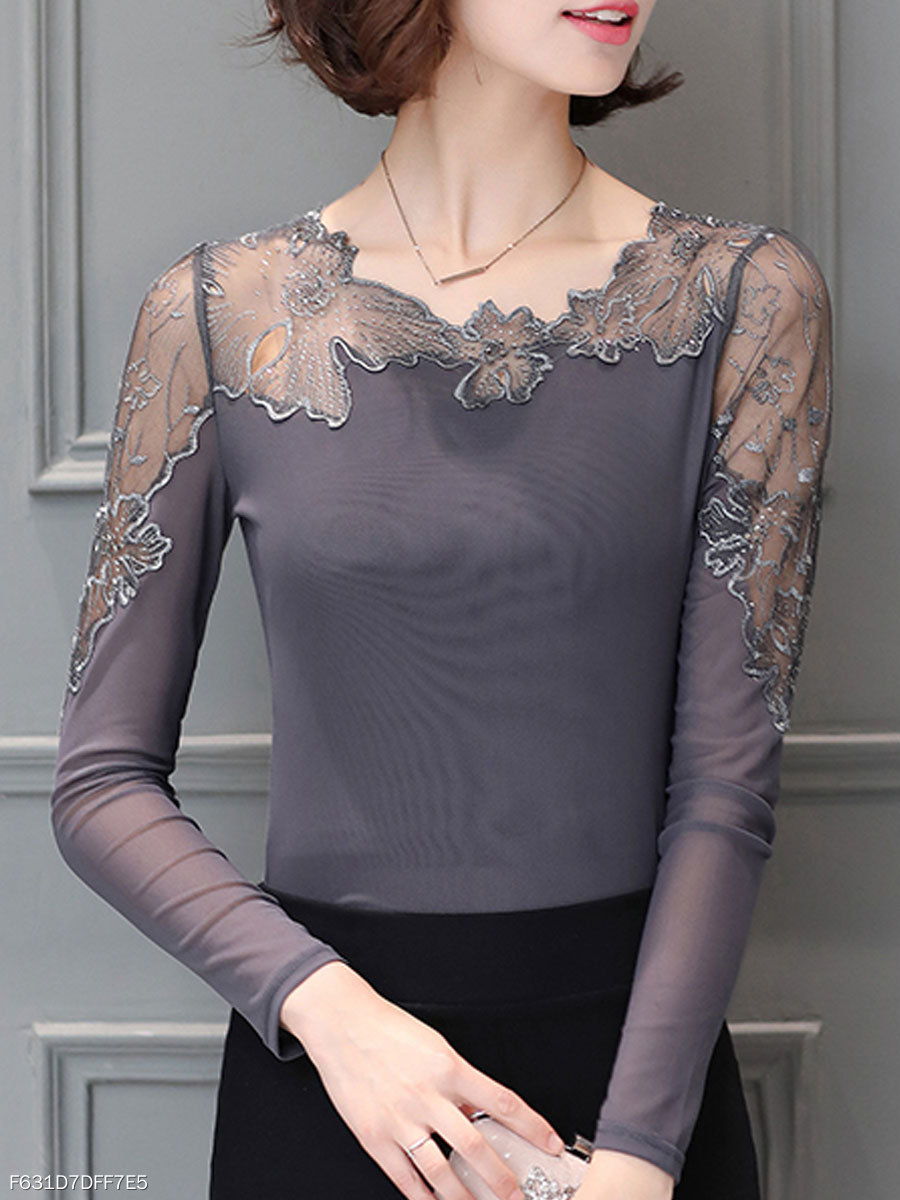 Autumn Spring  Polyester  Women  Asymmetric Neck  Patchwork See-Through  Hollow Out Plain Long Sleeve T-Shirts