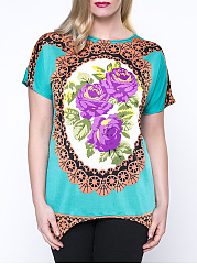 Asymmetric Hem Casual Floral Printed Round Neck  Plus Size T-Shirt