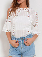 Spring Summer  Lace  Women  Open Shoulder  Hollow Out Plain  Three-Quarter Sleeve Blouses