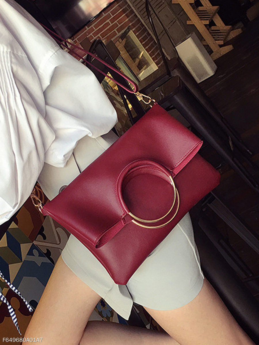 Two Pieces Pu Crossbody Bag Round Handle Hand Bag