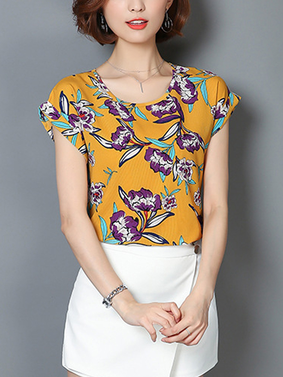 Fabulous Floral Printed Round Neck Blouse