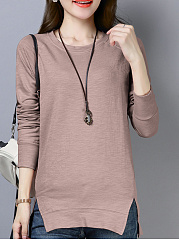 Round Neck  Loose Fitting Side Vented  Plain Long Sleeve T-Shirts