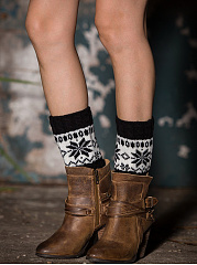 Snow Color Block Knit Short Leg Warmers