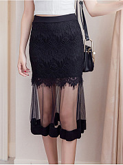 See-Through Plain Midi Skirt