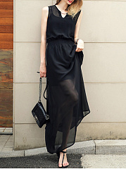 Sweet Heart  Elastic Waist See-Through  Plain Maxi Dress