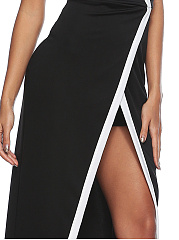 Strapless  Contrast Trim High Slit  Color Block Maxi Dress