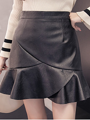 Cute Zips  Curved Hem  Plain  Mermaid Mini Skirts