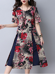 Round Neck  Slit  Floral Printed Skater Dress