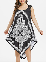 Round Neck  Decorative Lace  Geometric Plus Size Midi  Maxi Dress