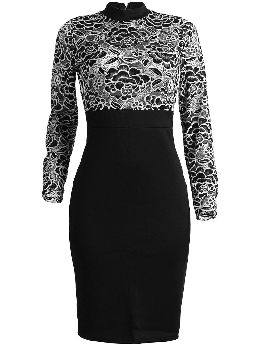 Band Collar Patchwork See-Through Bodycon Dress