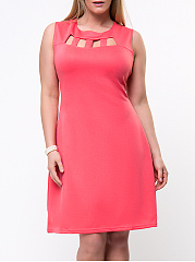Cutout Solid Round Neck Sleeveless Plus Size Flared Dress