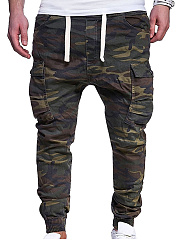 Drawstring Flap Pocket  Camouflage  Pegged  Mid-Rise Men's Casual Pants