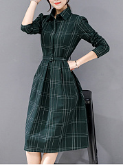 Fold-Over Collar  Plaid Skater Dress
