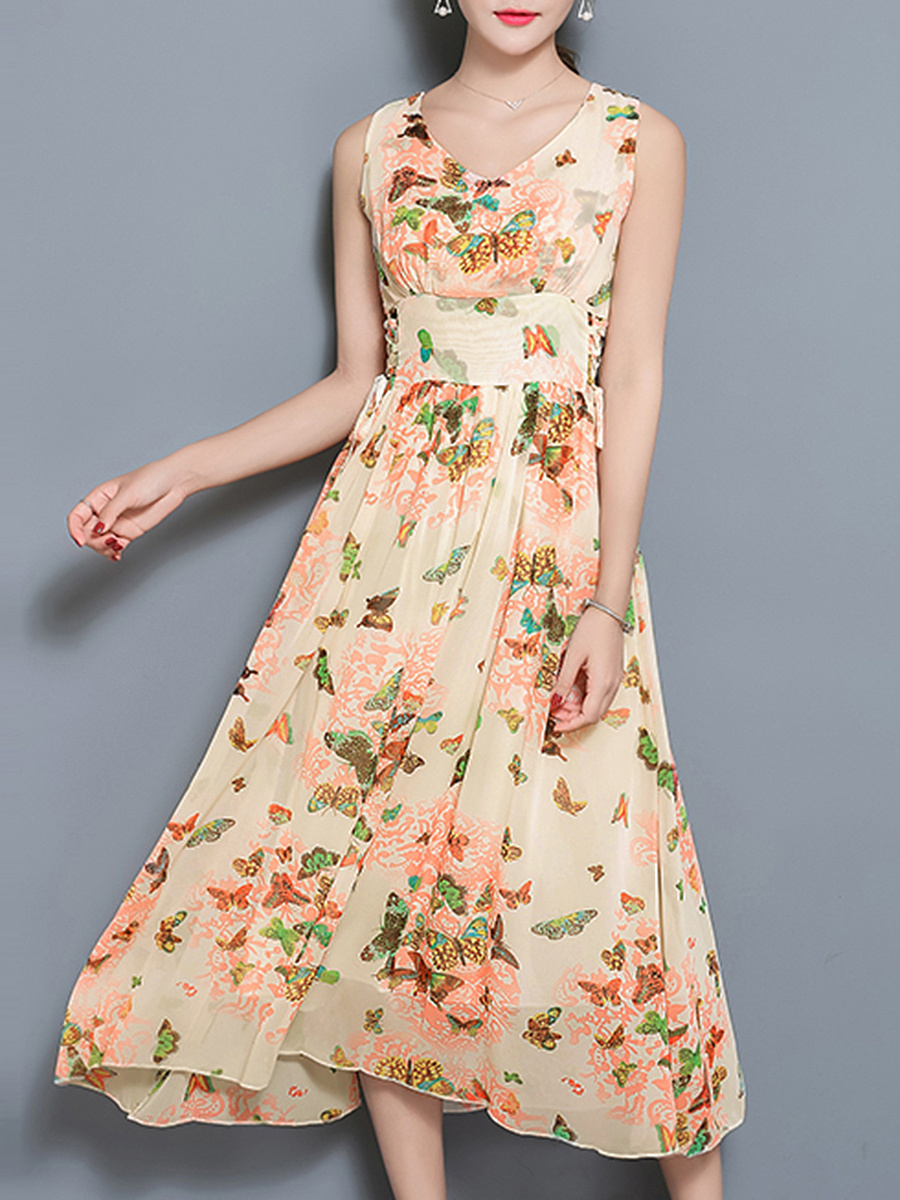 V-Neck Lace-Up Butterfly Printed Chiffon Maxi Dress