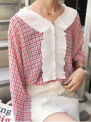 Autumn Spring  Women  Flounce  Plaid  Long Sleeve Blouses