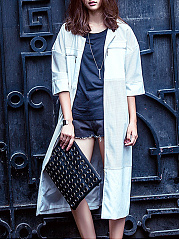 Collarless  Patchwork  Chain  Plain  Half Sleeve Trench Coats