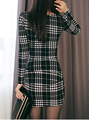 Robe Moulante Plaid Mélange Mini