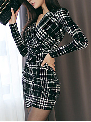 ... Sexy V-Neck Plaid Mini Bodycon Dress ...