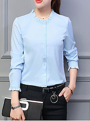 Spring  Blend  Women  Round Neck  Single Breasted  Plain  Long Sleeve Blouses