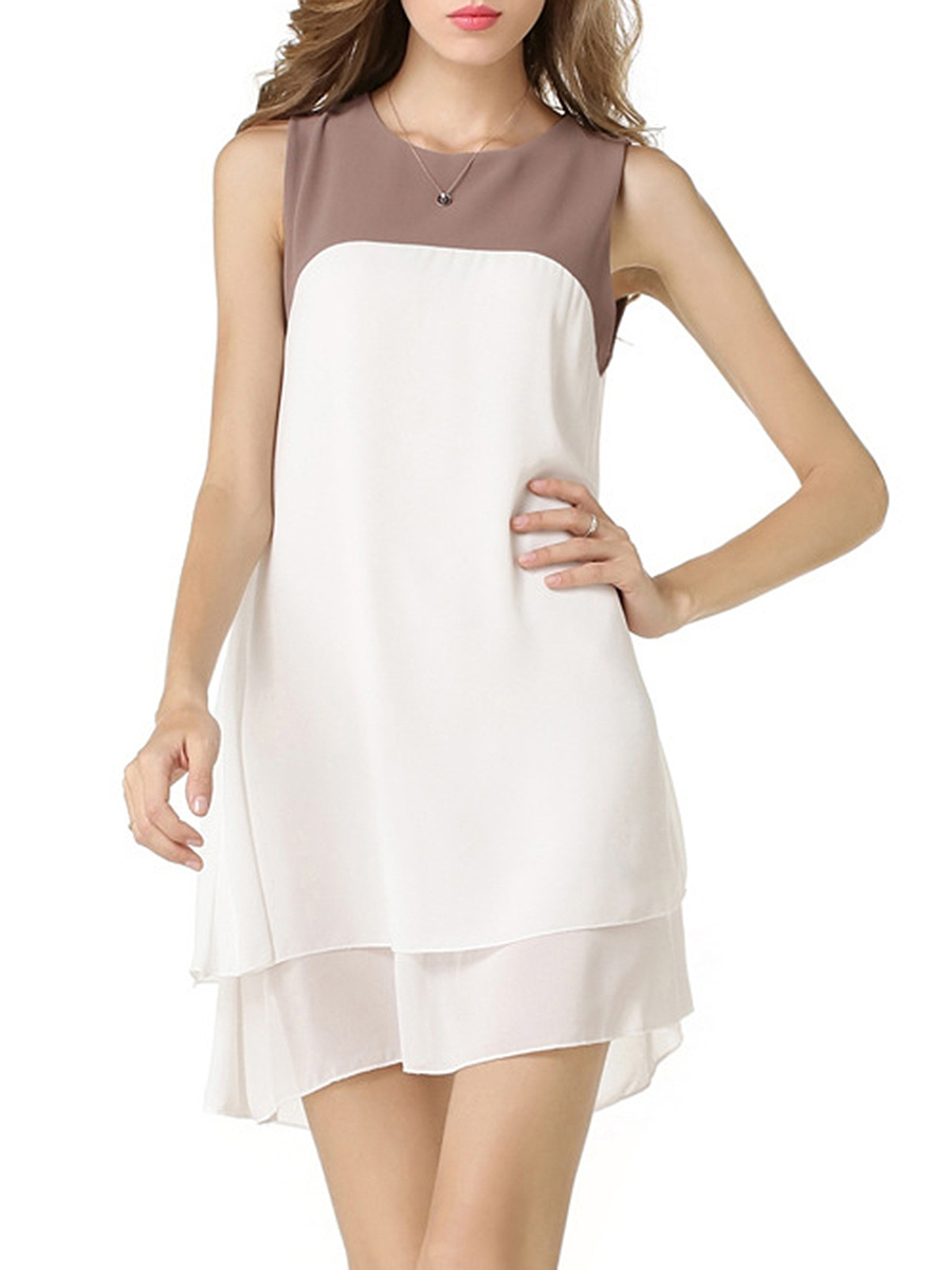 Color Block Chiffon Round Neck Shift Dress