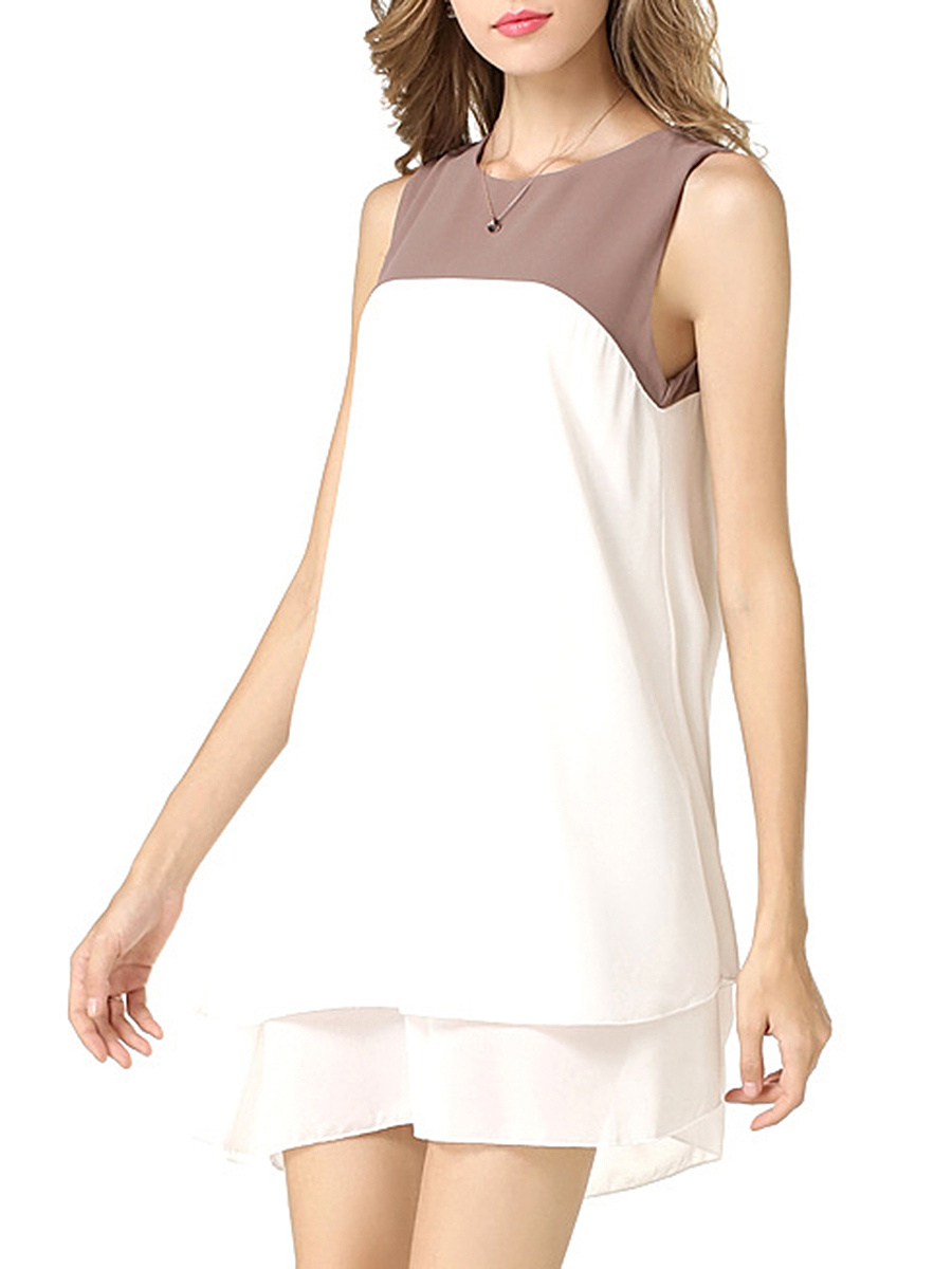 Color Block Chiffon Round Neck Shift Dress