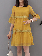Round Neck  Patchwork  Plain  Bell Sleeve Shift Dress