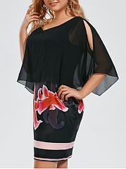 V-Neck  Patchwork  Floral Plus Size Bodycon Dress