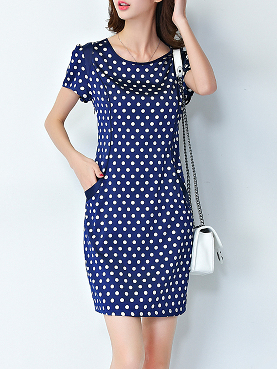 Vintage Round Neck  Polka Dot Bodycon Dress
