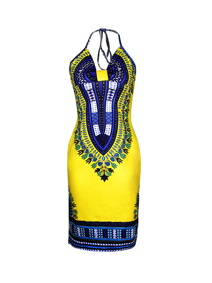 Sexy Halter Backless Side Slit Tribal Printed Bodycon Dress