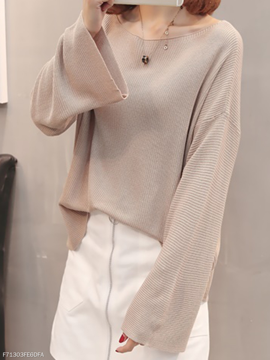 Loose Fitting  Plain  Bell Sleeve Knit Pullover