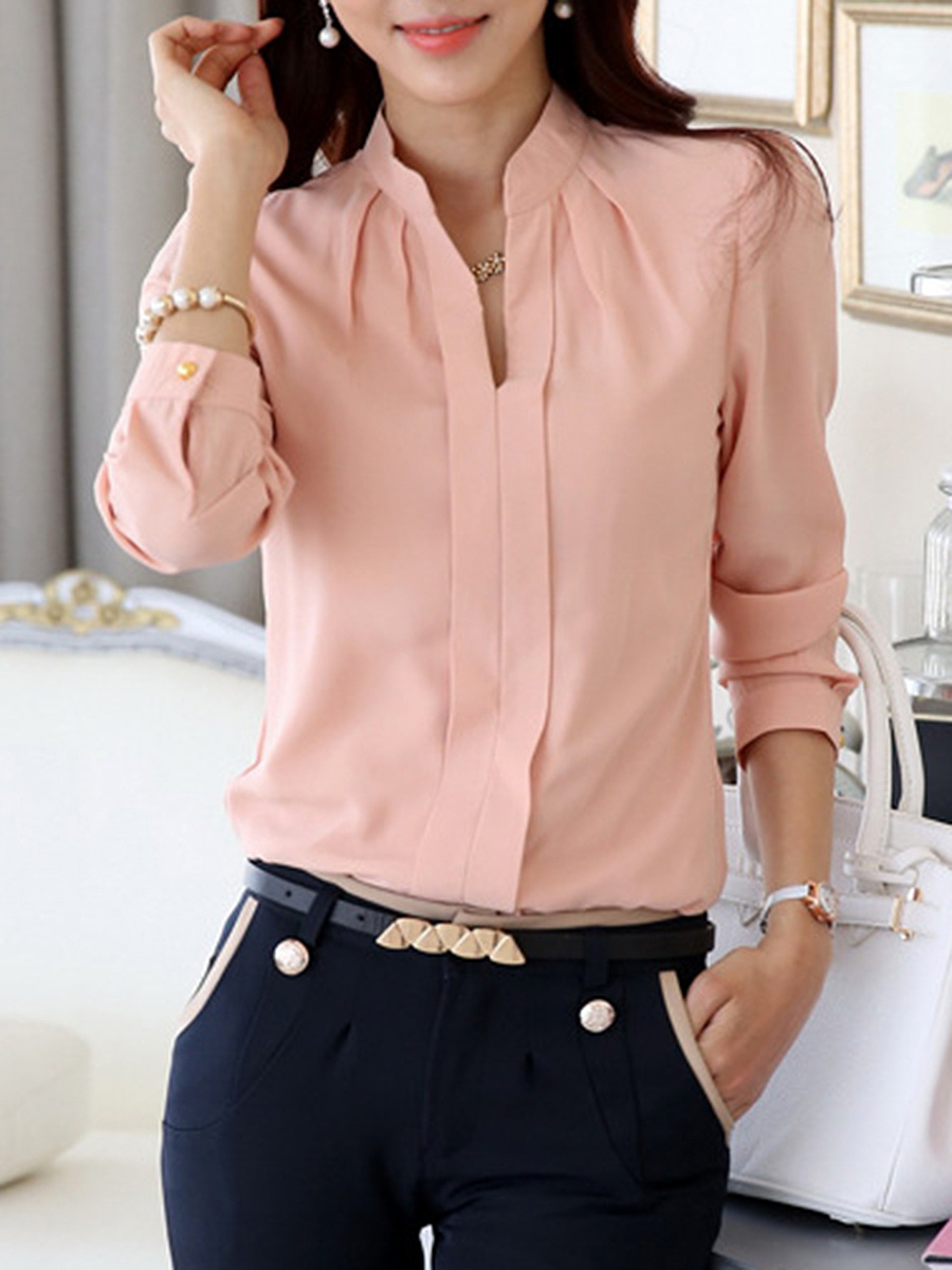 Split Neck  Plain Chiffon Long Sleeve Blouse