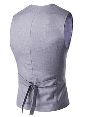 Collarless Single Breasted Plain Men Waistcoat
