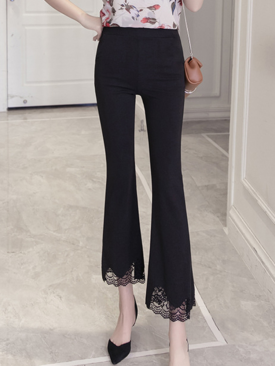 Plain Decorative Lace Flared Casual Pants