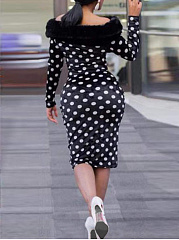 Faux Fur Collar  Frayed Trim  Polka Dot Bodycon Dress