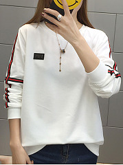 Autumn  Cotton  Women  Round Neck  Contrast Piping  Plain Long Sleeve T-Shirts
