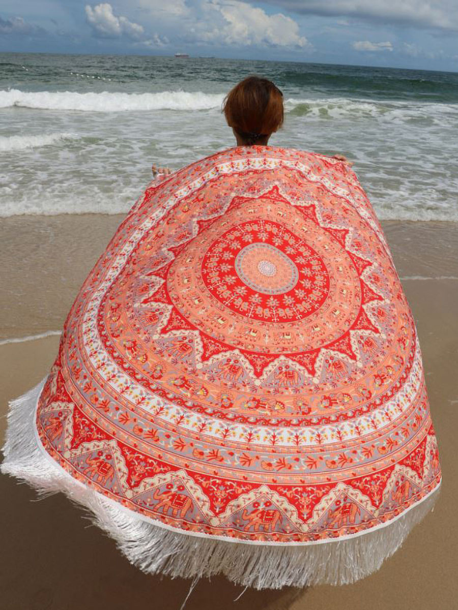 Elephant Long Fringe Round Beach Shawl Beach Blanket