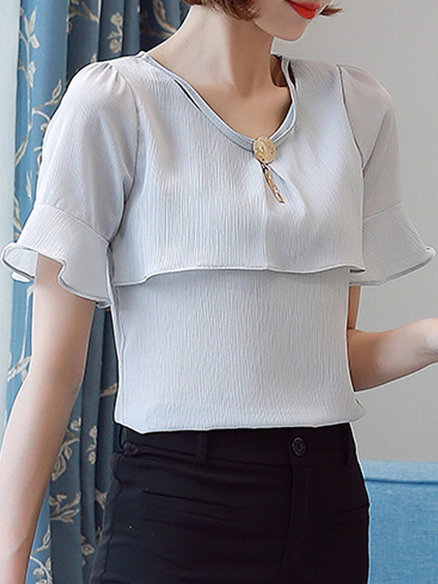 V-Neck Decorative Hardware Plain Bell Sleeve Blouse