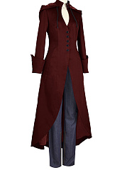 Hooded  Zips  Decorative Button  Plain  Long Sleeve Trench Coats