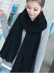 Winter Warm Soft  Knitted Plain Long Thick Knitted Scarf