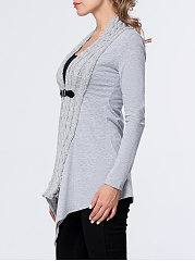 Asymmetric Hem Patchwork Single Button Plain Cardigan