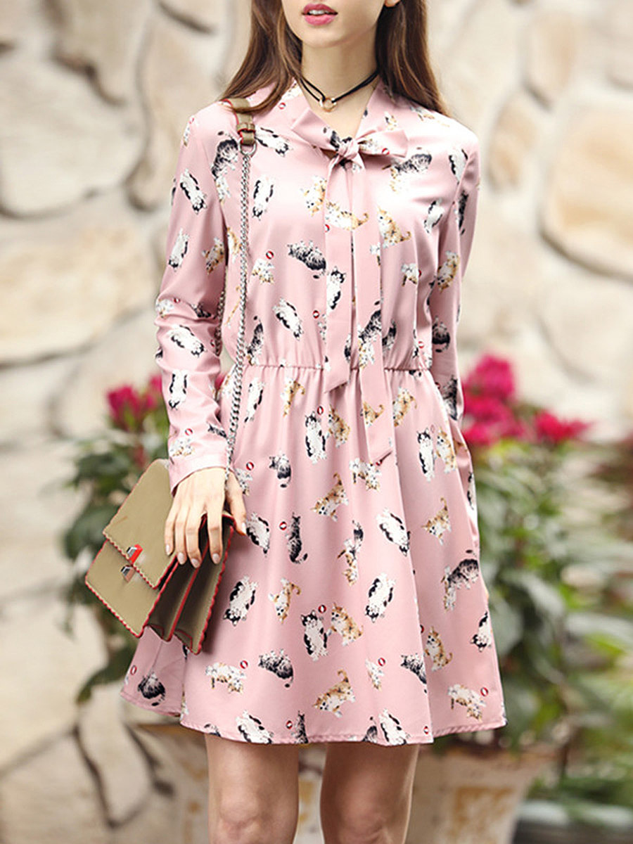 Tie Collar Bowknot Cute Cat Printed Skater Dress