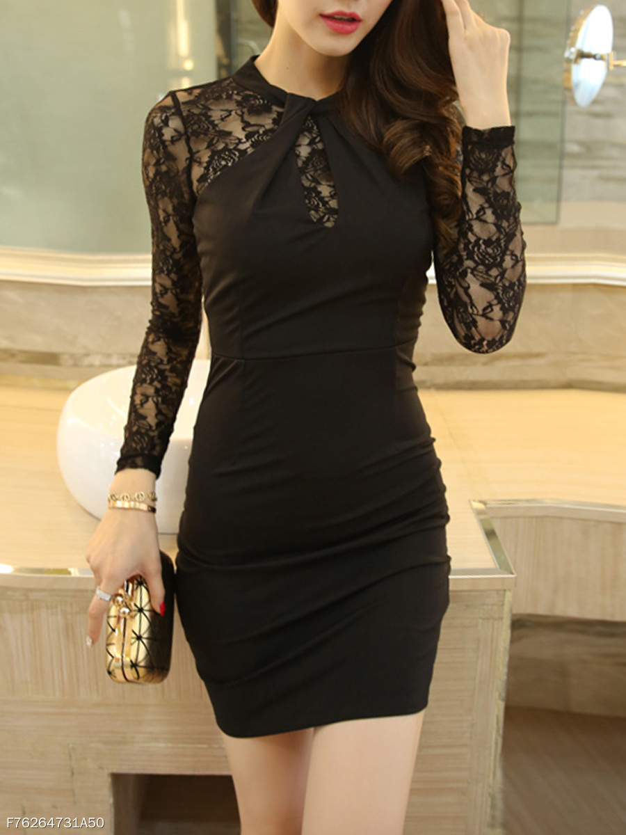Black See-Through Band Collar Mini Bodycon Dress