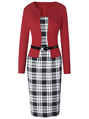 Color Block Plaid Belt Long Sleeve Bodycon Dress