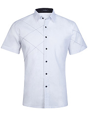 Turn Down Collar Contrast Stitching Plain Men Shirts