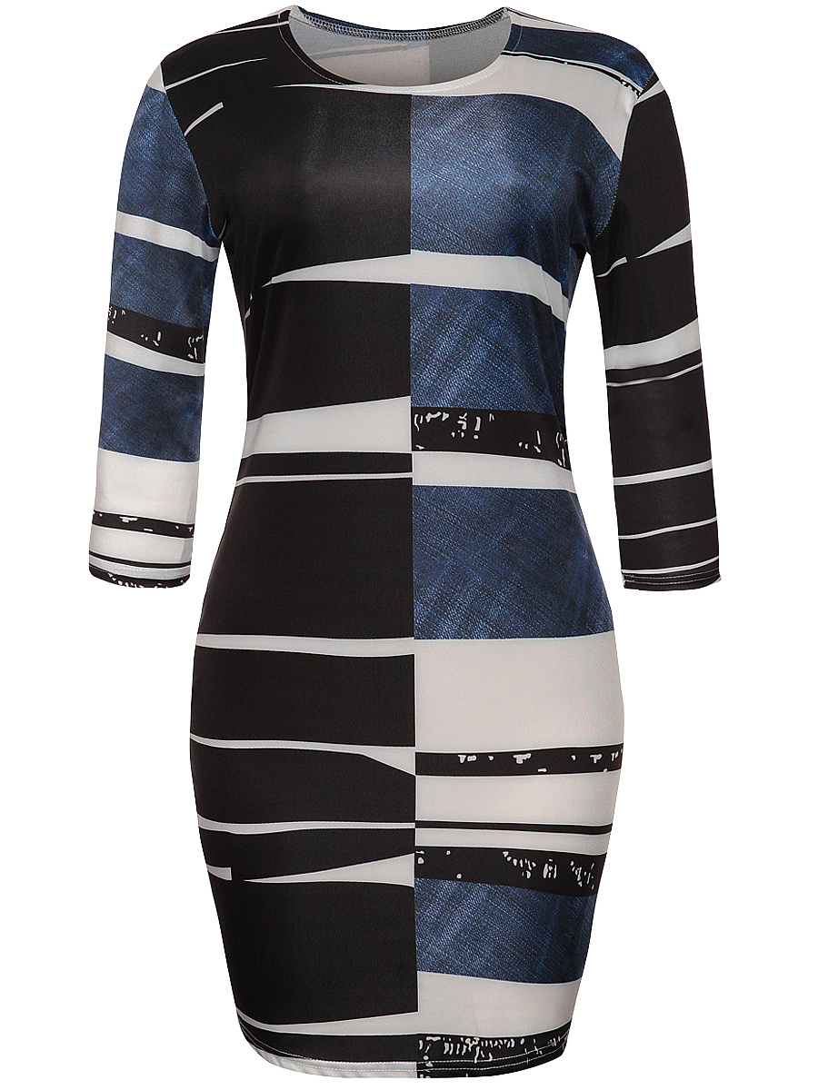 Asymmetric Stripe Color Block Bodycon Dress