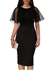 Black Round Neck See-Through Cape Sleeve Midi Bodycon Dress